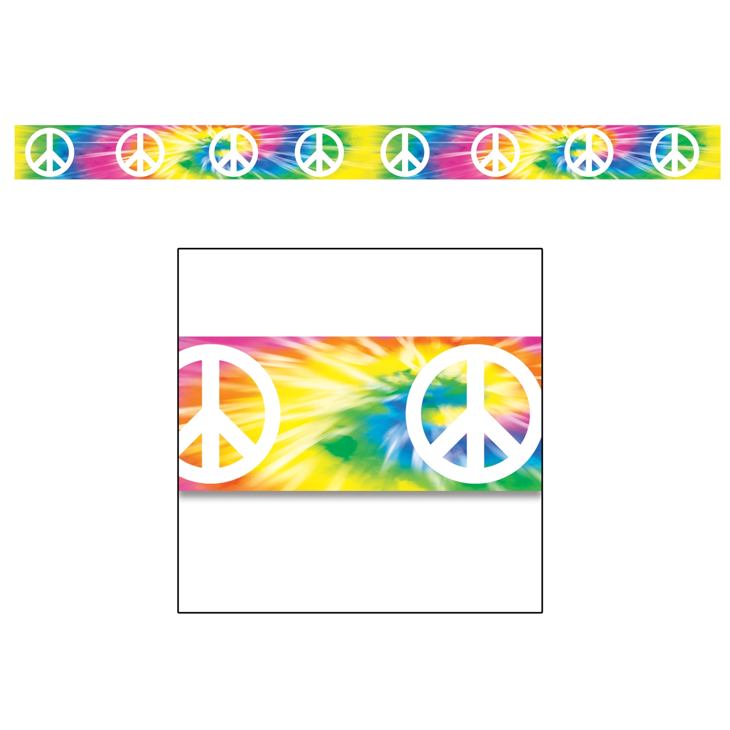 Peace Sign Party Tape (Pack of 12) tie dye, peace sign, tape, party tape, 60s, hippie