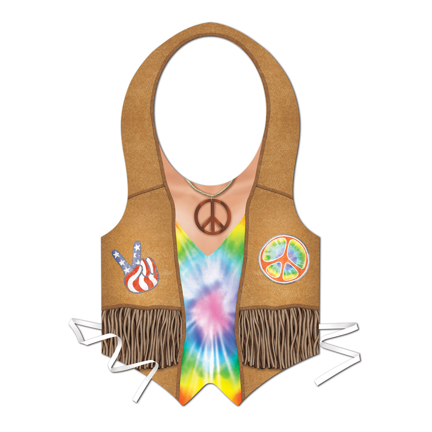 Plastic Hippie Vest (Pack of 24) Halloween, hippies, 60s, vest, costume, accessorie