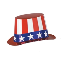 Foil Patriotic Hi-Hat (Pack of 25) red, white, blue, foil, july 4th, patriotic, uncle sam, hat, hi hats, stars, stripes