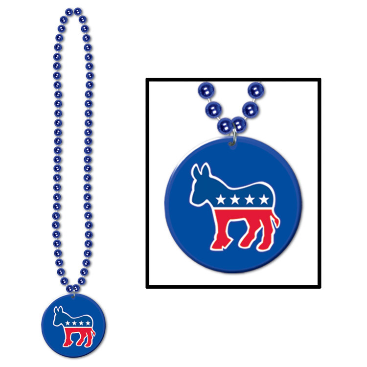 Beads w/Democratic Medallion (Pack of 12) .