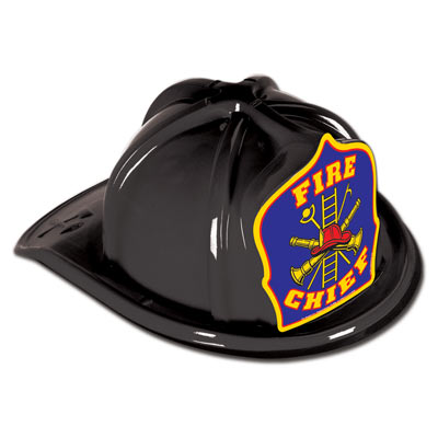 Black Plastic Fire Chief Hat (Pack of 48) Black Plastic Fire Chief Hat, fire chief, hat, party favor, fire truck, birthday, wholesale, inexpensive, bulk