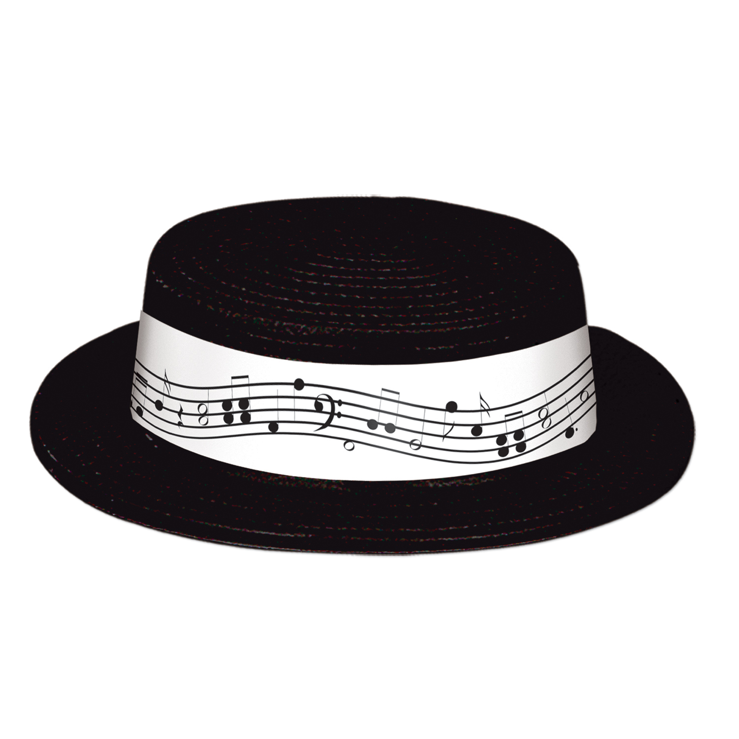 Black Plastic Skimmer w/Music Band (Pack of 24) hat, music, educational, costume, accessory