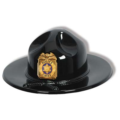 Black Plastic Trooper Hat with Gold police chief badge
