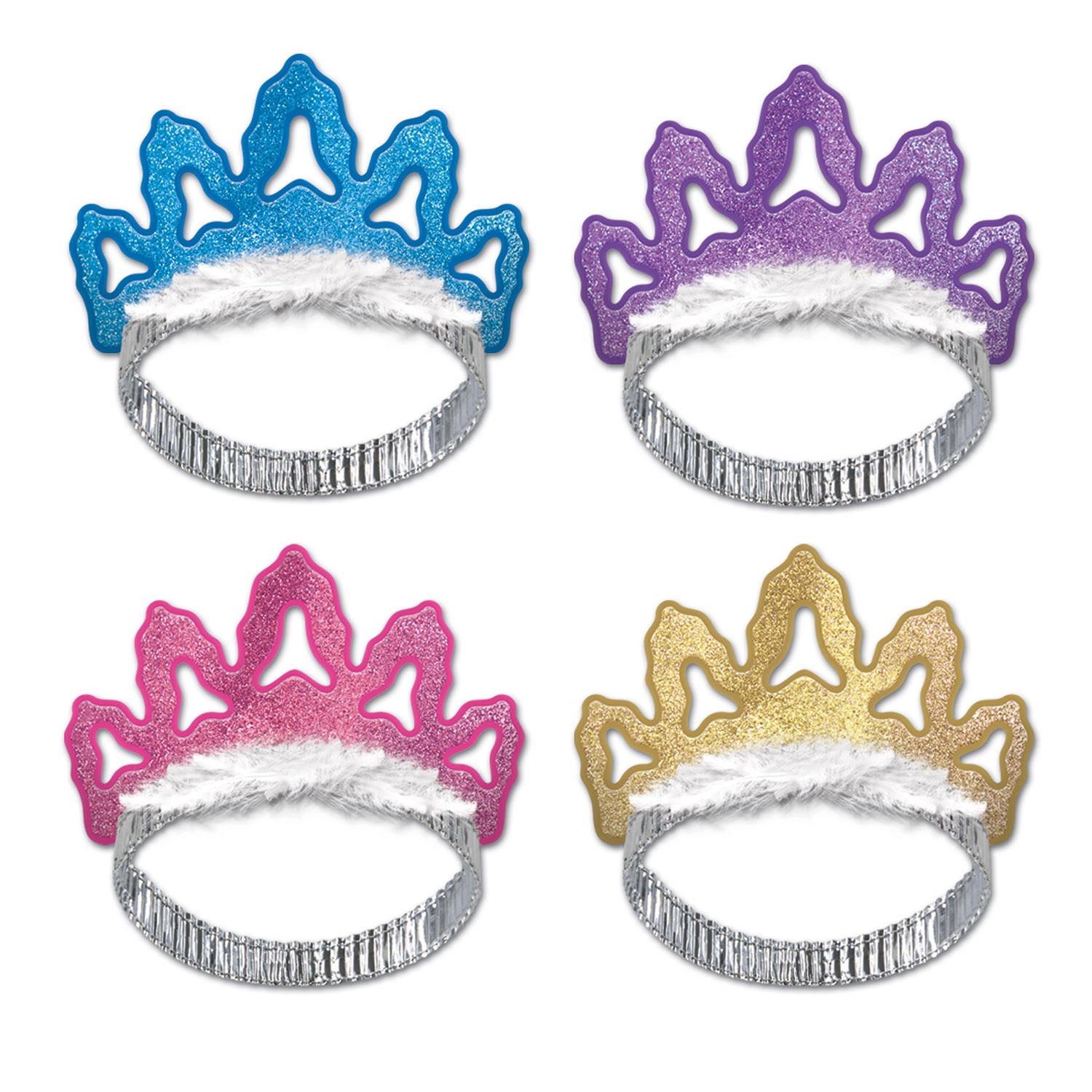 Coronet Tiaras (Pack of 48) tiaras, party, favor, purple, pink, blue, gold, new years eve, wholesale, inexpensive, bulk