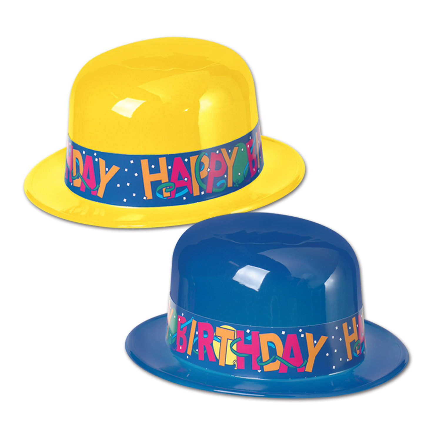 Plastic Derbies w/Happy Birthday Band (pack of 24) Plastic Derby Hats, party favor, hats, birthday, wholesale, inexpensive, bulk