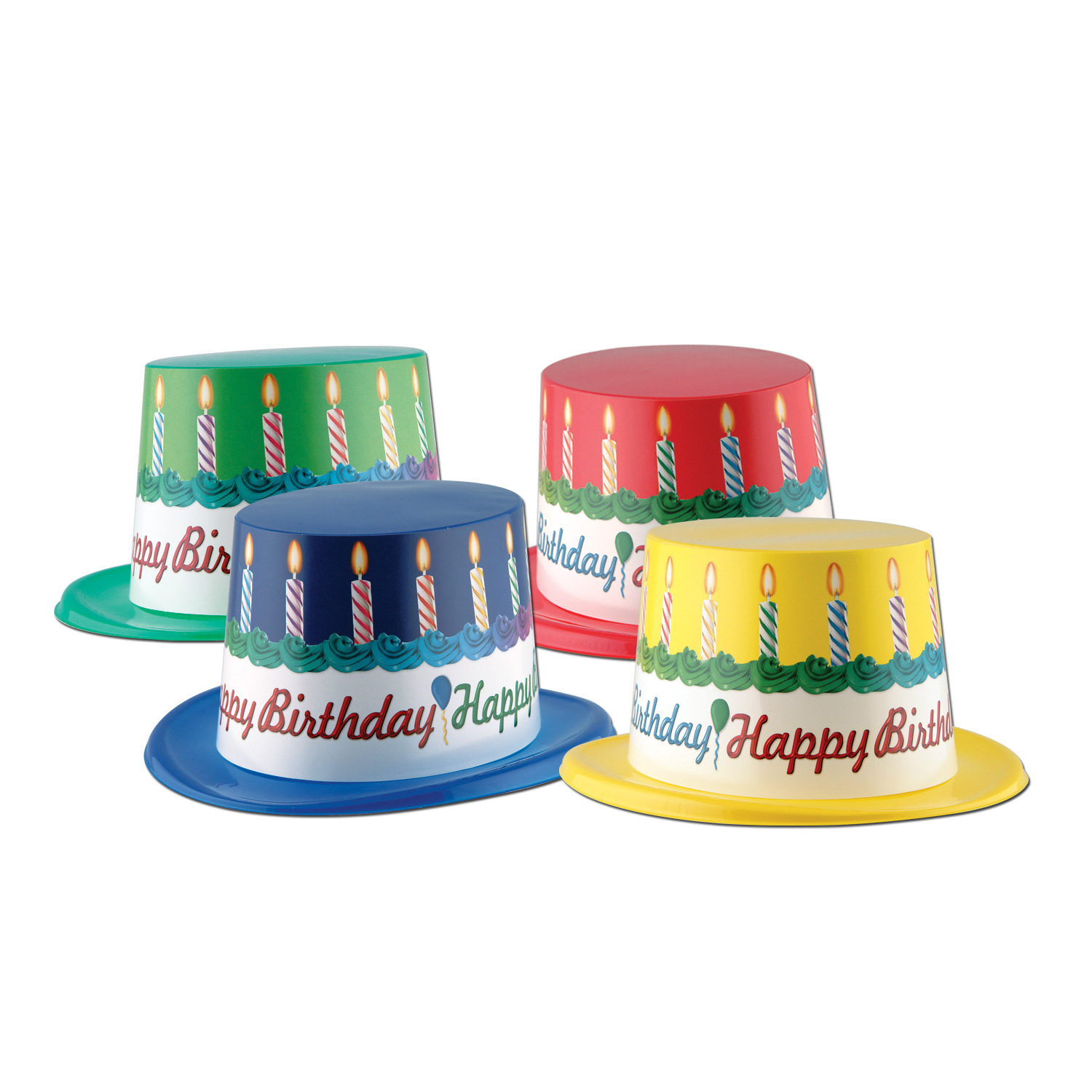 Plastic Toppers w/Happy Birthday Band (Pack of 25) Hats, plastic, birthday hats, celebration, birthday party