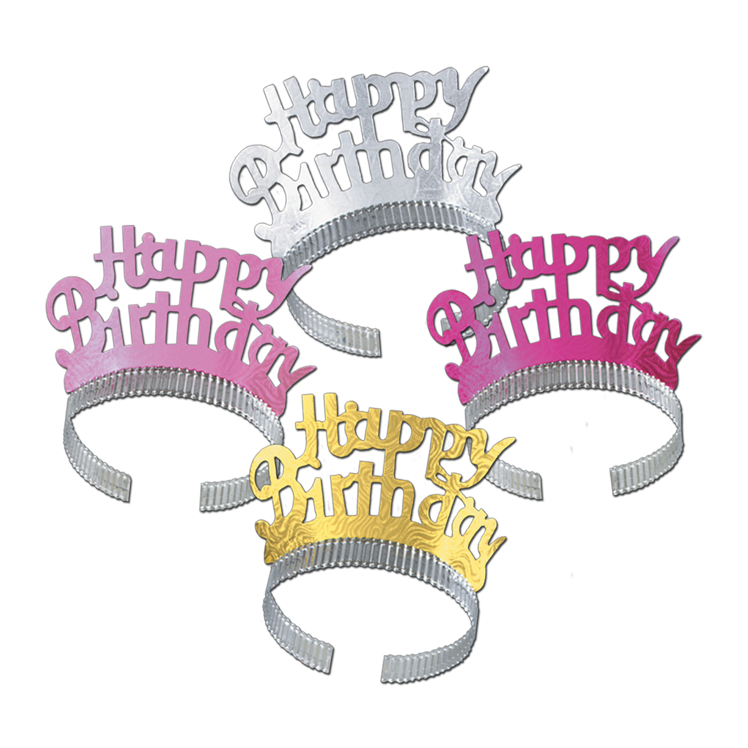 Happy Birthday Tiaras (Pack of 72) Happy Birthday Tiaras, birthday, party favor, assorted, wholesale, inexpensive, bulk