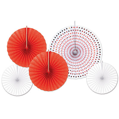 Red and white hanging fan decorations with different sized fans included