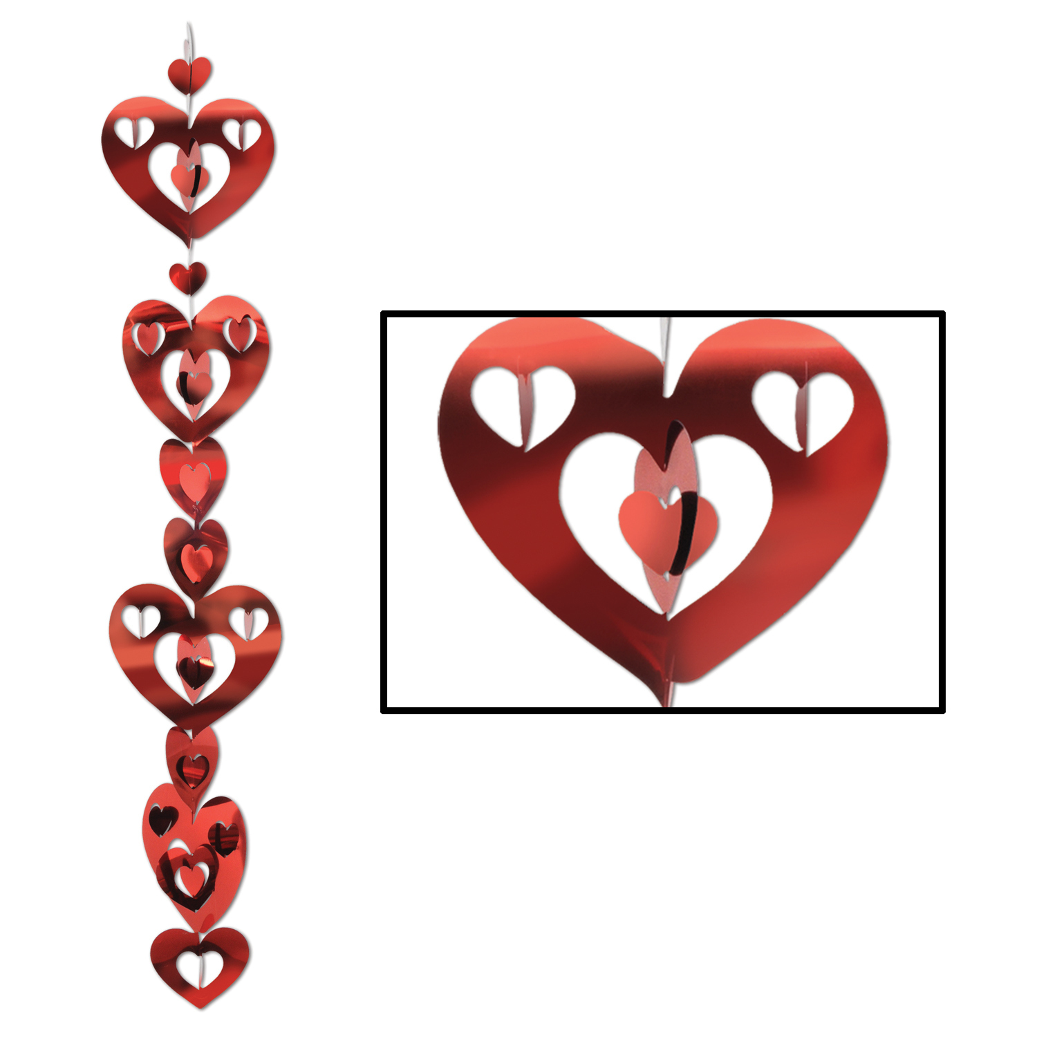 3-D Prismatic Heart Gleam N Garland (Pack of 12) .