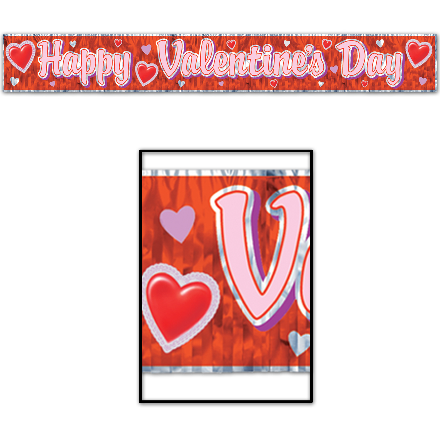 Happy Valentines Day Fringe Banner (Pack of 12) Happy Valentines Day Fringe Banner, valentines day, decoration, banner, wholesale, inexpensive, bulk