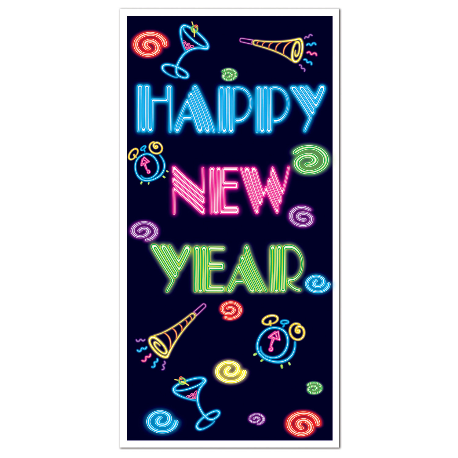 Happy New Year Door Cover (Pack of 12) Door cover, Happy New Year, Decorative cover, Door, Neon, HNY, Indoor/outdoor, New Years Eve, Glow in the dark, Multi-color, Party favors, Wholesale party supplies, Inexpensive party goods, Cheap, Bulk