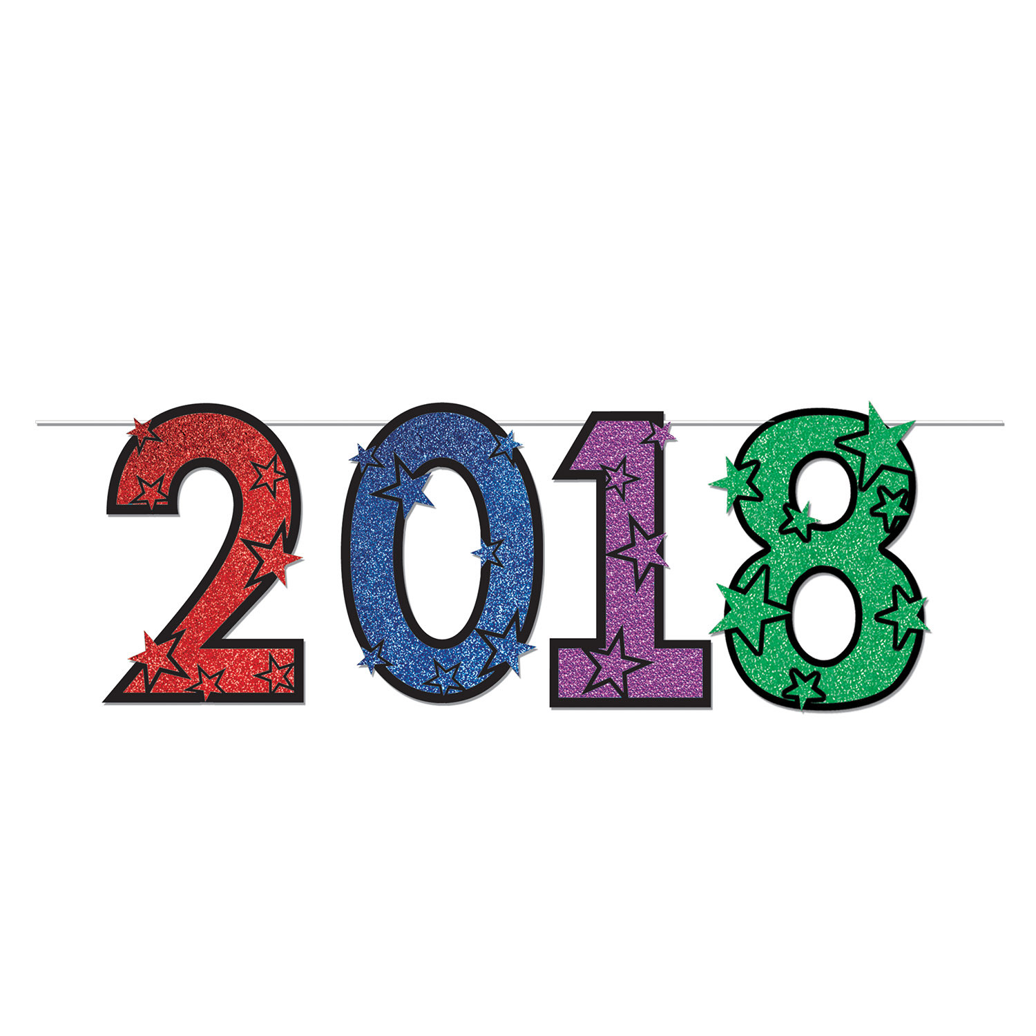 """2018"" Glittered Streamer (Pack of 1) streamer, glitter, multi-color, new years eve, 2018, decoration, inexpensive, wholesale"