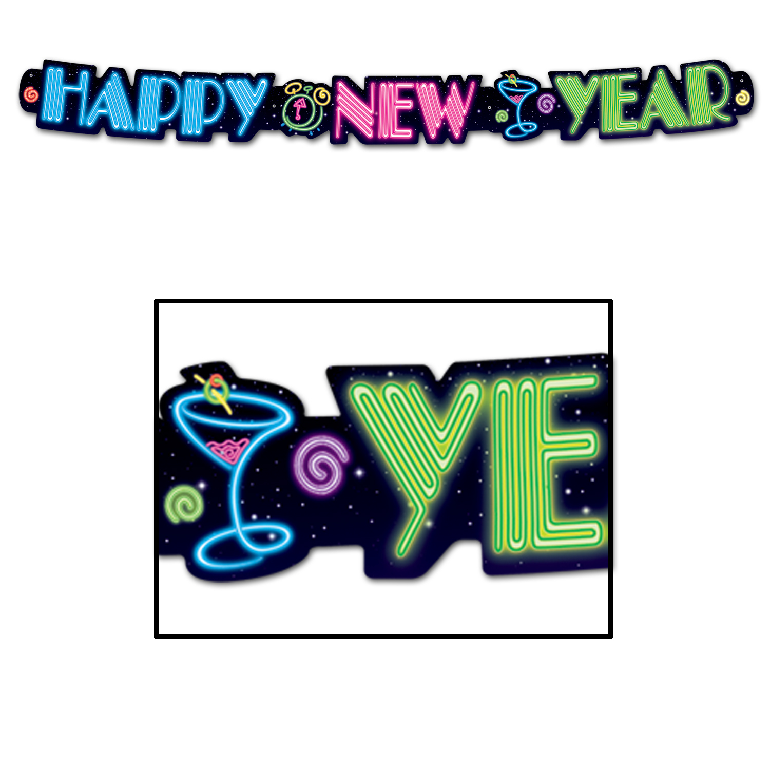 Neon Happy New Year Streamer (Pack of 12) Streamer, glow in the dark, neon, happy new year, party, decorations, individual, colorful