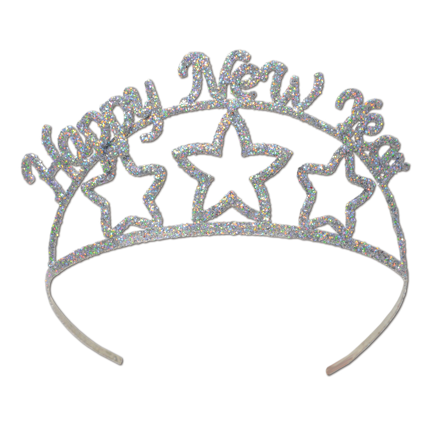 Glittered Metal Happy New Year Tiara (Pack of 6) glittered, metal, happy, new, year, tiara, party, eve, sparkly, hotel, casino, restaurant, bar, pack
