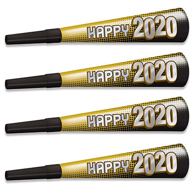 New Year 2020 Gold Horns (Pack of 100) New Year 2020 Gold Horns, New years Eve, Gold Horns, Noise makers