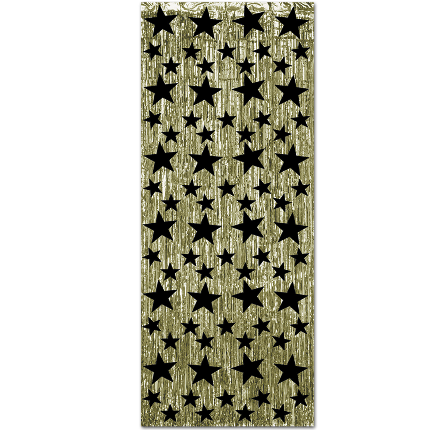 1-Ply Black and Gold Gleam N Curtain (Pack of 6) gold, black, star, metallic, curtain, new years eve, back drop, inexpensive, decoration, wholesale, bulk