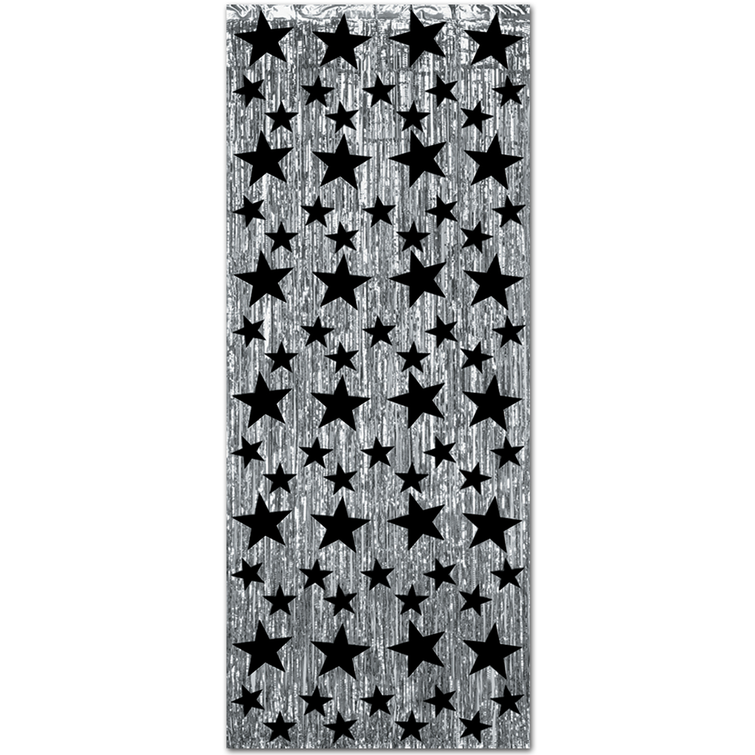 1-Ply Black and Silver Gleam N Curtain (Pack of 6) New years eve, hollywood, black, silver, stars, curtain, metallic, wholesale, inexpensive, bulk