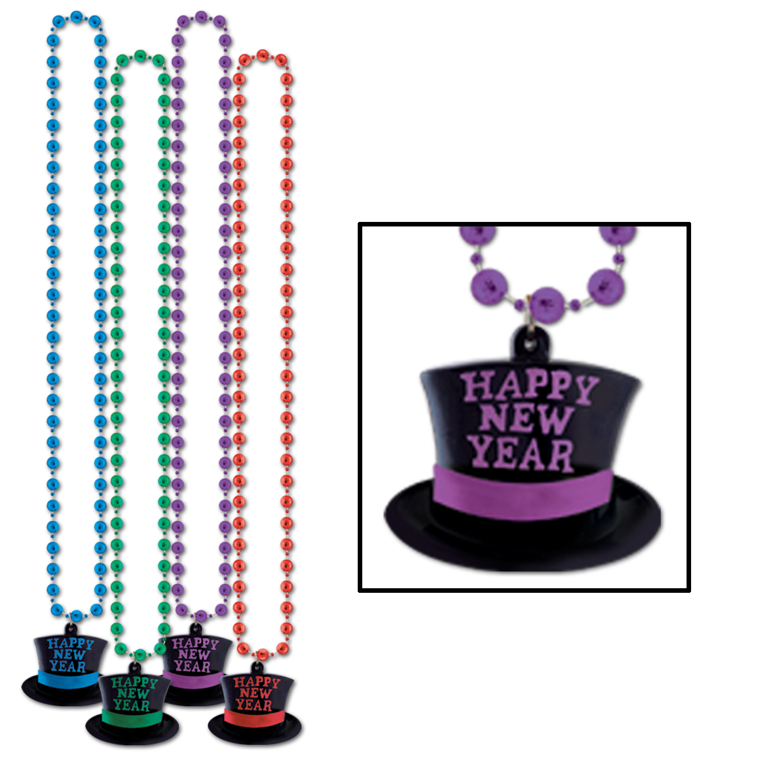 Beads w/Happy New Year Top Hat Medallion (Pack of 12) beads, happy, new, year, top, hat, medallion, eve, party, celebration, accessory