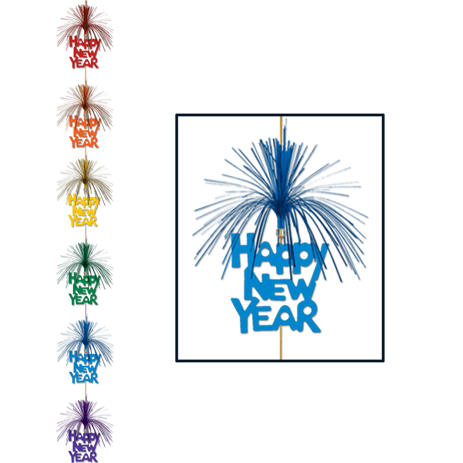 Happy New Year Firework Stringer (Pack of 12) Stringer, Hanging Decoration, 7 feet, Dangler, Multi-Color, Fireworks, Inexpensive decorations, Bulk, Wholesale, Party Favors, NYE