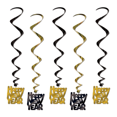 Happy New Year Whirls (Pack of 30) Whirls, Dangle, Hanging Decor, Black and Gold, Bulk Supplies, Inexpensive, Shiny Decorations, Party, NYE,