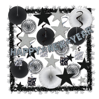 Silver New Year decorating kits with fans, garland, whirls and more.