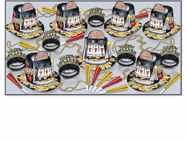 JACKPOT New Year Assortment for 50 party, favor, hat, tiara, pop outs, beads, horns, new years eve, wholesale, inexpensive, bulk