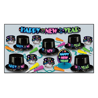 Neon Party Asst for 10 Neon Party Assortment, hat, tiara, beads, centerpiece, streamer, new years eve, party favor, decoration, wholesale, inexpensive, bulk