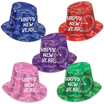 "Assorted color top hats with printed white clocks and ""Happy New Year""."