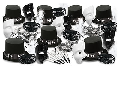black and white masquerade themed new years eve party kit with phantom masks and top hats