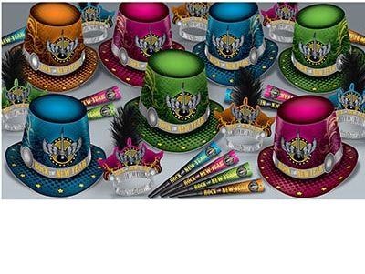 rock and roll themed New Years Eve Party kit with horns, tiaras, and party hats