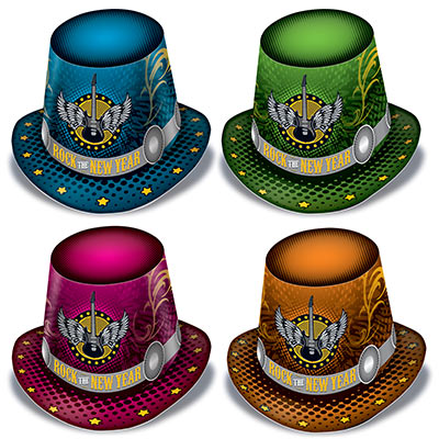 happy new year party hats in assorted colors that have an 80s rock and roll icon on the front