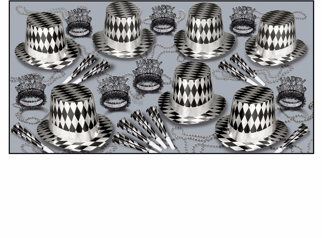 Harlequin Assortment for 50  Hats, Horns, Tiaras, Black and Silver, New Years Eve, Masquerade Ball, NYE gala, argyle, Diamond pattern, Inexpensive, Wholesale, Bulk Party Favors