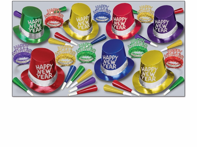 assorted colored new years eve party kit for 50 with bright colored top hats, party horns, and assorted tiaras