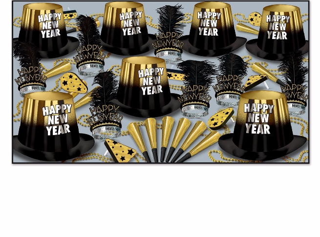 Gold Entertainer Assortment for 50 New Year's Eve, New Year's, party goods, party supplies, party kit, assortment, party hats, party horns, tiaras, party beads, noise makers, gold and black, entertainer