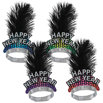 assorted colored happy new year tiaras with a black plume feather