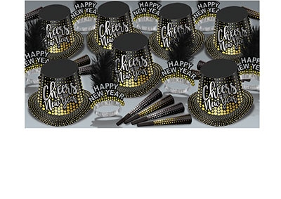 black gold and silver New Years Eve party kit with hats, tiaras, and party horns