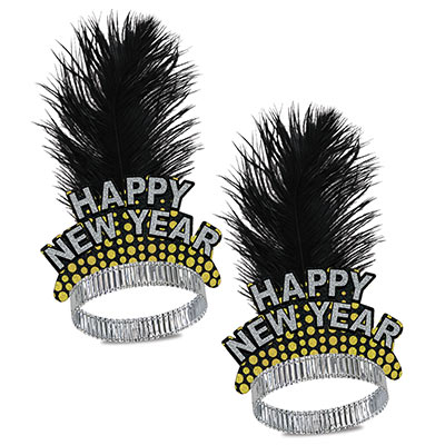 gold and silver happy new year tiaras with a black plume feather