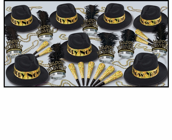 Swingin Gold Assortment for 50  swingin, assortment, party, favors, black, gold, hat, tiara, horns, beads, prismatic, new years eve, wholesale, inexpensive, nye, bulk