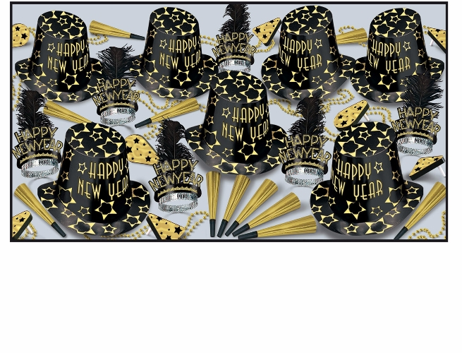 Black Gold Asst for 50  Black, Gold, Party Assortment, Party Kit, Party Favors, Hats, Horns, Tiaras, New Years Eve, NYE, Stars, Wholesale party kits, Inexpensive party favors, Cheap, Bulk, Party Goods