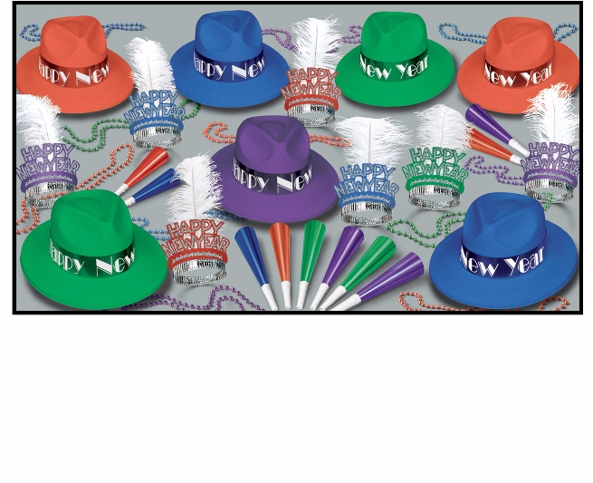 Broadway Swing Assortment for 50  hats, fedoras, tiara, party, beads, horns, new years eve, wholesale, inexpensive, bulk