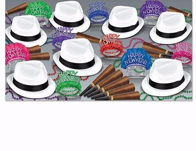 new years eve party kit with cigar themed horns