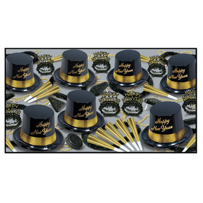 Gold Legacy Asst for 25 Gold Legacy Assortment, gold and black, party favors, new years eve, hat, tiara, horn, beads, noisemakers, leis, wholesale, inexpensive, bulk