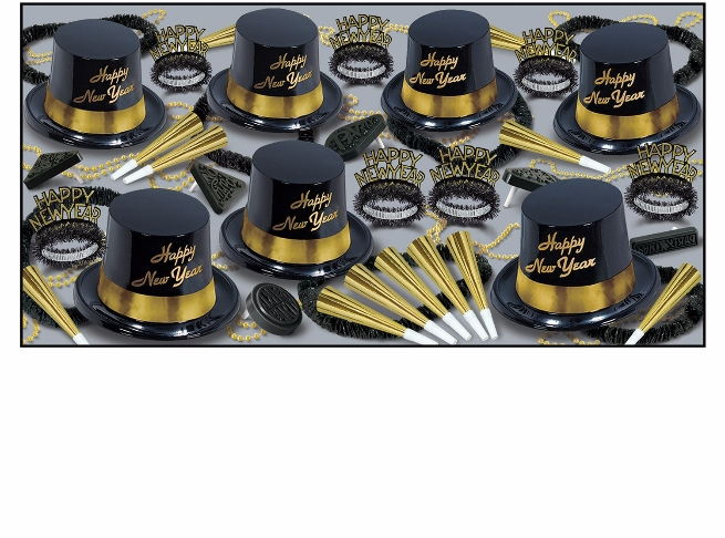 Gold Legacy Assortment for 50  New Year's Eve, New Year's, party goods, party supplies, party kit, assortment, party hats, party horns, tiaras, party beads, noisemakers, leis, black, gold, plastic hats, for 50