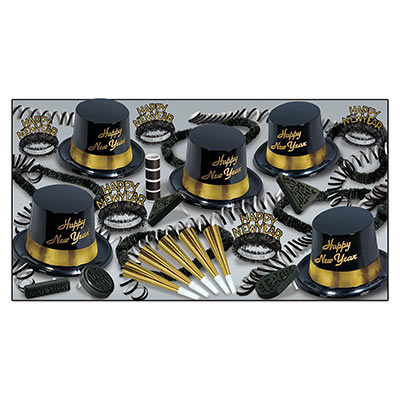 Gold Legacy Asst for 10 Gold Legacy Assortment, gold and black, party favors, new years eve, hat, tiara, horn, beads, noisemakers, leis, wholesale, inexpensive, bulk