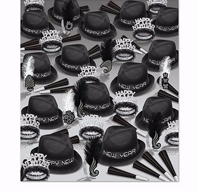 Black and white new years eve party kit for 100 people