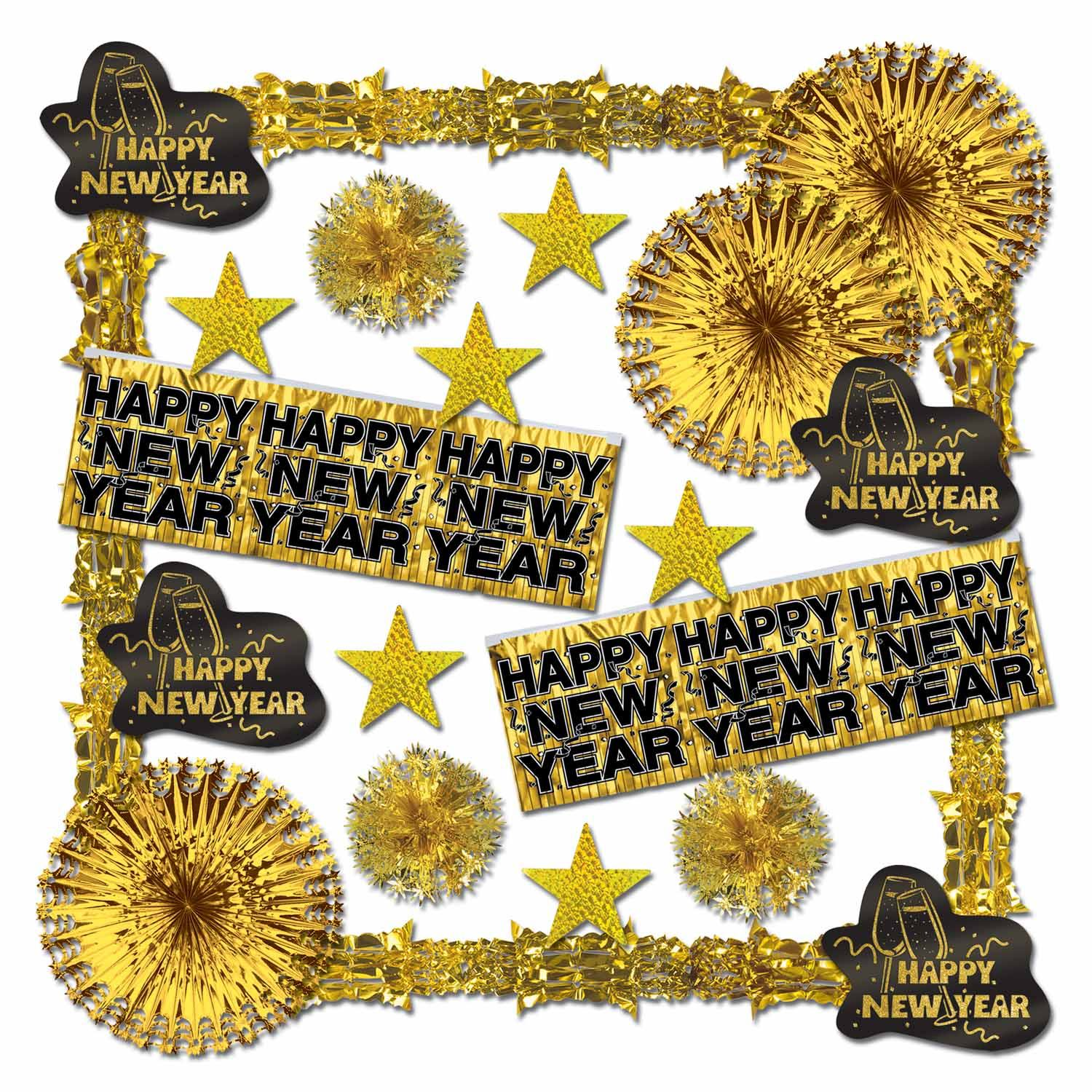 Glistening Gold New Year Decorating Kit - 22 Pieces Decorating kit, Decor, Party Supplies, Wholesale, Inexpensive, New Years Eve, Bulk Pack, Black and Gold, Gold, Hanging Decor, Decorations, Party
