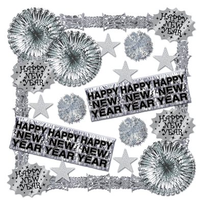Shimmering Silver New Years Decorating Kit - 22 Pieces Silver, Decorating Kit, NYE Decor, Black and Silver, New Years Eve, Hanging Decor, Ceiling Decor, Inexpensive, Wholesale Decorations, Assortment