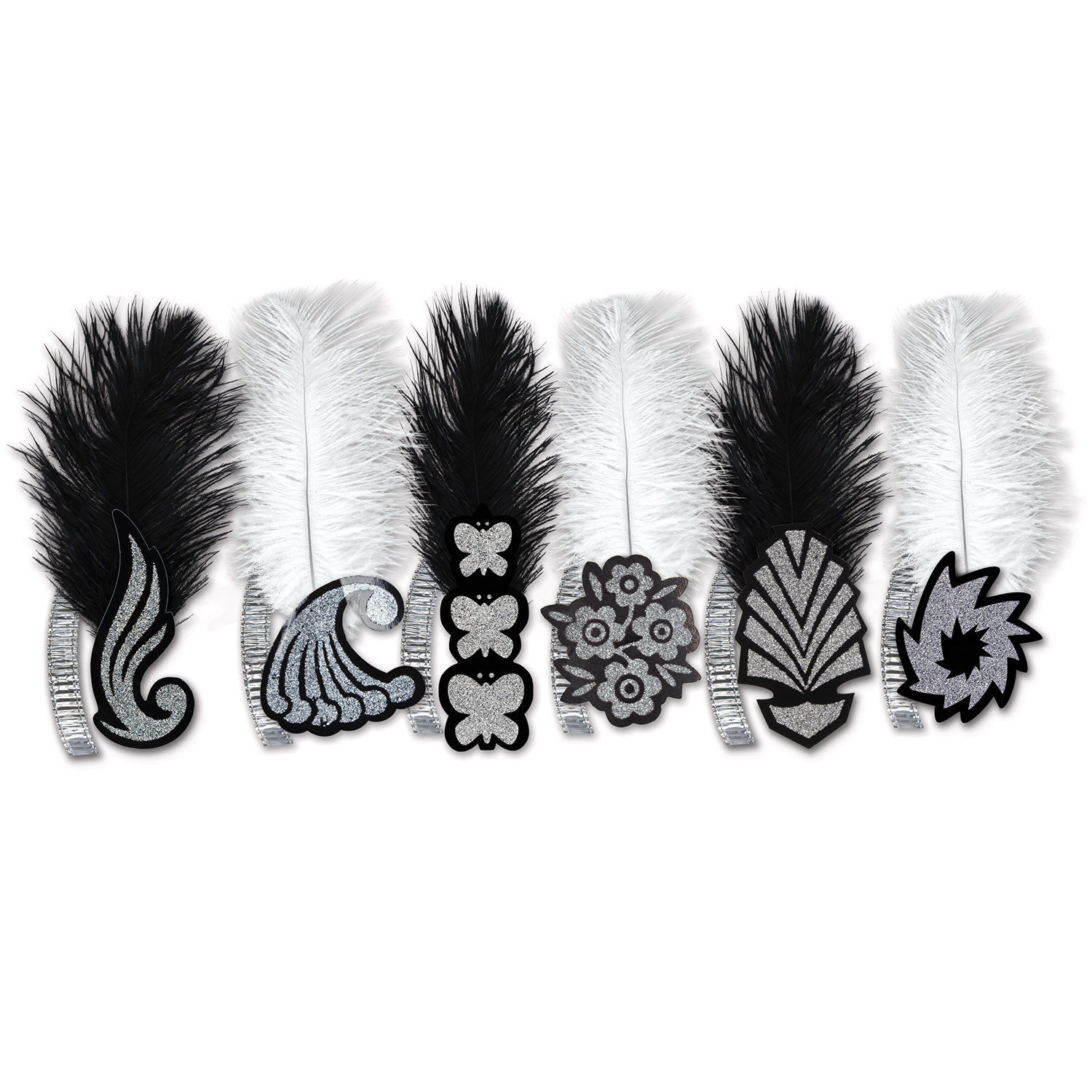 Black & White Roaring 20s Tiaras (Pack of 50) black, white, roaring, 20s, tiaras, new, years, eve, party, hotel, bar, restaurant, casino, accessory