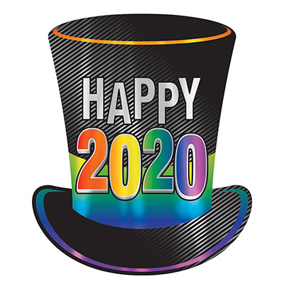"Foil cutout of a top hat with multi-color design of ""Happy 2020""."