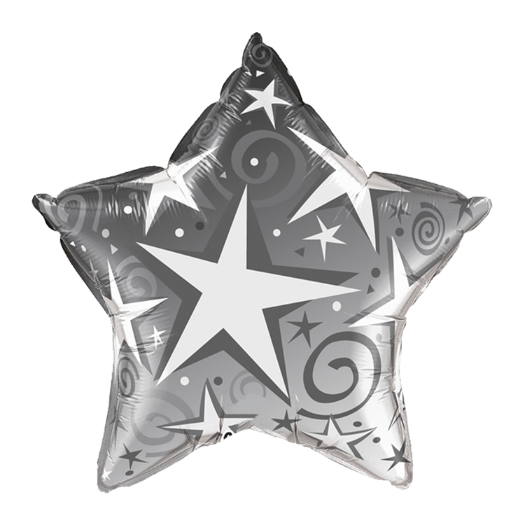"20"" Silver Star Blast Mylar Balloons (Pack of 25) 20"", twenty, inch, inches, silver, star, blast, mylar, balloons, decoration, inflatable, party, pack, birthday, New, Years, Eve, hotel, restaurant, bar, casino,"